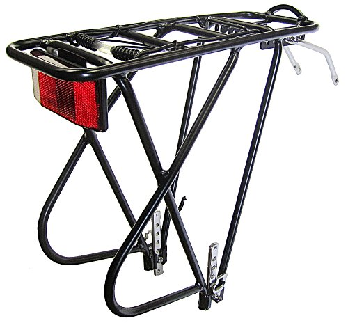 Bike Rear Rack, Aluminum 3 Leg Rear Bike Rack with spring,Black, reflector INCLUDED, (Bike Rack Spring)