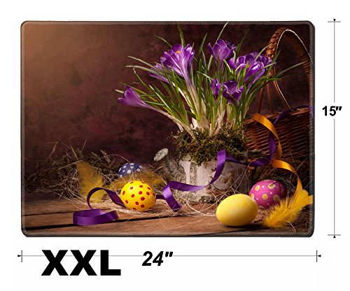 Liili Extra Large Mouse Pad XXL Extended Non-Slip Rubber Gaming Mousepad 24x15 Inch, 3mm thick Stitched Edge Desk Mat vintage Easter card spring flowers on a wooden background Photo 12782445