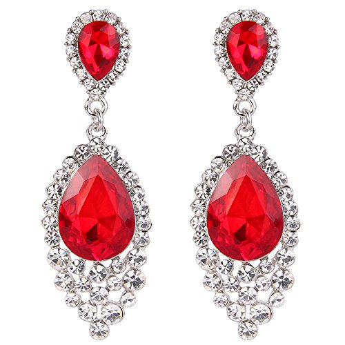 (BriLove Wedding Bridal Dangle Earrings for Women Crystal Teardrop Cluster Beads Chandelier Earrings Ruby Color Silver-Tone)