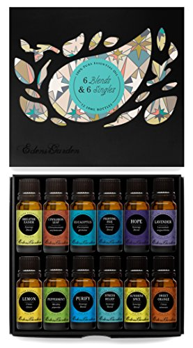 6) Synergy Blends and 6) Top Single Oils 100% Pure Therapeutic Grade Essential Oils- 12/ 10 ml of Breathe Easier, Cinnamon Leaf, Eucalyptus, Fighting Five (previously known as Four Thieves), Hope, Lavender, Lemon, Peppermint, Purify, Stress Relief, Sunshine Spice, Sweet Orange by Edens Garden