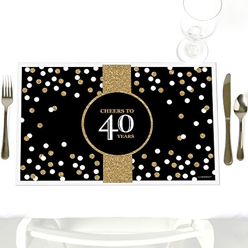 Adult 40th Birthday - Gold - Party Table Decorations - Birthday Party Placemats - Set of 12 -