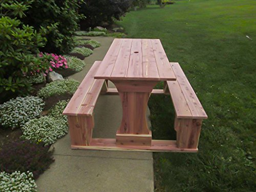 Commercial Grade Indoor-Outdoor Red Cedar Pub Trestle Table - 8' Long - Amish Made USA (Umbrella Hole, Naturally Unfinished – for Indoor and Outdoor - Cedar Table Pub