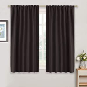 RYB HOME Blackout Window Curtains Insulated Drapes Rod Pocket Curtain Morden Panels for Cafe Shop Window Treatments Décor Draperies Energy Effecient for Bedroom, W 42 in by L 54 in, Brown, Set of 2