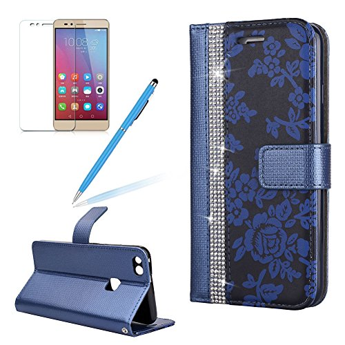 Flip Wallet Case For Huawei P10 Lite Girlyard Luxury Bling  Diamond Flower Pattern  Stitching Leather Stand Function Full Body Magnet Book Protective Cover For Huawei P10 Lite Blue