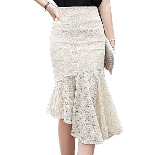 Price comparison product image JIANGTAOLANG Women Irregular High-Waist Lace Skirts Slim Ruffles Long Fishtail Bottoms A-Line Skirt Apricot L