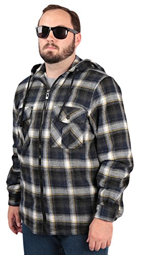 Woodland Supply Co. Men's Sherpa Lined Plaid Hooded Shirt Jacket,Large,Navy/Yellow