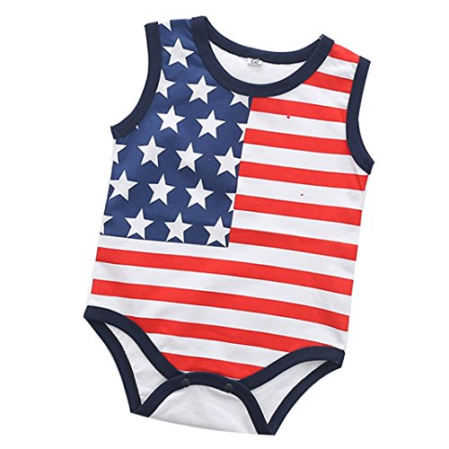 Price comparison product image Newborn Infant Baby Girls Boys 4th Of July Summer Outfit Clothes for 3-18 Months Cuekondy Star Striped Romper Jumpsuit Playsuit (red 1, 6M)