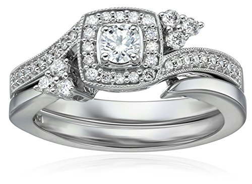 IGI Certified 14k White Gold Diamond Cushion Halo with Millgrain Wedding Ring Set (1/2cttw, H-I Color, I1-I2 Clarity), Size 7