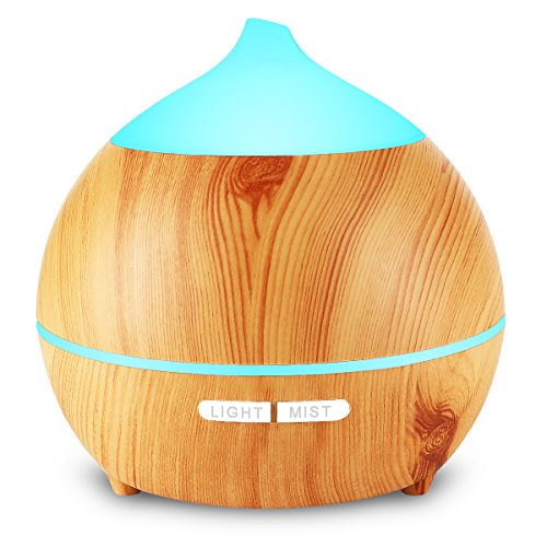 Aromatherapy Essential Oil Diffuser, Avaspot 250ml Wood Grain Ultrasonic Aroma Diffuser Cool Mist Humidifier with Auto Shut Off, 7 LED Colors and Adjustable Mist Mode for Yoga, Office, Bedroom