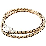 Charm Buddy 41cm 20cm Cream Leather Double Wrap Pandora Style Bracelet Fits Charms Beads