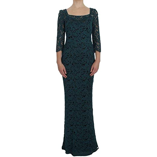 752c5a5a Image Unavailable. Image not available for. Color: Dolce & Gabbana Blue Floral  Lace Bodycon Maxi Ball Dress
