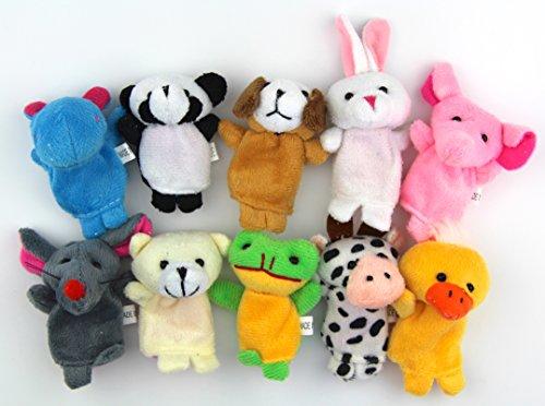 RayLineDo Small Size Zoo Animals Set Sock Glove Soft Cute Hand Finger Puppets Sack Plush Toy Kids Entertainment