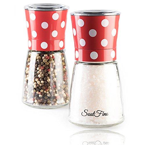 Premium Salt and Pepper Grinder Shaker Set – Retro Design- Adjustable Ceramic Rotor - 5.35
