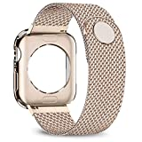jwacct Compatible for Apple Watch Band with Screen Protector 38mm 40mm 42mm 44mm, Soft TPU Frame Case Cover Bumper Compatible for Apple Series 1/2/3/4 Gold