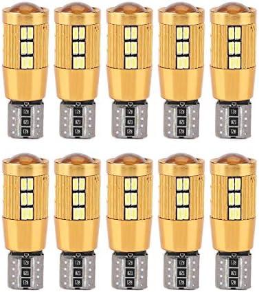 Qiilu 車用 10本入り T10 3014 30SMD カーデコードled canbus電球 エラーフリー サイドマーカー電球 ナンバープレートライト