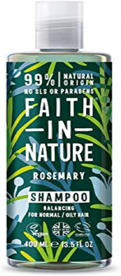 Faith In Nature Rosemary Shampoo For Normal To Oily Hair 400ml | Vegan | No Cruelty | 99% Natural Fragrance | No From SLS or Parabens