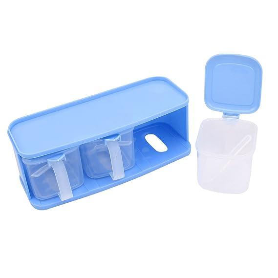 Sourcingmap - Cocina de plástico 3 celdas especias sal condimento dispensador de contenedores: Amazon.es: Hogar