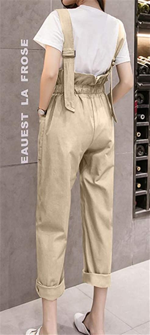 Lutratocro Womens Wide Leg Braces Autumn High Waist Jumpsuit Cargo Zipper Bib Overalls