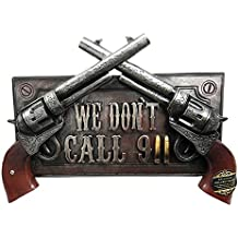No Warning For Trespassers Wild West Dual Six Shooter Guns With Bullets Wall Art Sign Plaque Decor 3D Figurine