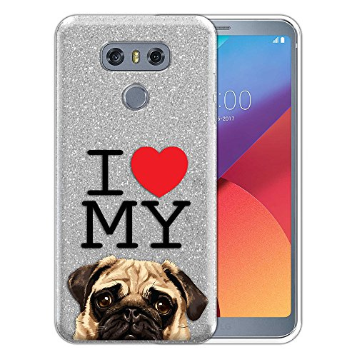 FINCIBO Case Compatible with LG G6 / G6+ Plus LS993 VS998, Shiny Sparkling Silver Bling Glitter TPU Protector Cover Case for LG G6 / G6+ Plus - I Love My Pug Puppy Dog