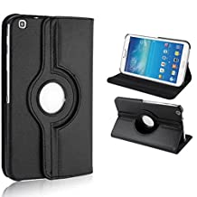 Samsung Galaxy Tab 3 8.0 Cover Case,Beebiz 360 Degree Rotating Pu Leather Flip Folio Case Stand Cover for Samsung Galaxy Tab 3 8.0 Inch (T310) Tablet Protective Skin Shell(Black)