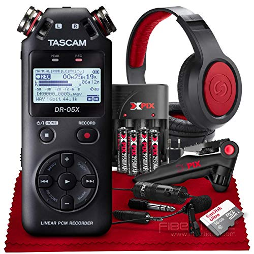 Tascam DR-05X Stereo Handheld Digital Audio Recorder with USB Audio Interface + 16GB + Microphone + Premium Accessories Bundle (Best Handheld Stereo Recorder)