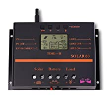 Sun YOBA 60A LCD Solar Panel Charge Controller 12V 24V Auto Switch With USB Charge