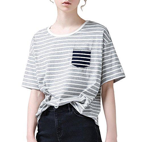 f46a2fb0ebe TOYOUTH Women s Cute Juniors Striped Shirt Teen Girl Tees Funny T Shirt  Fashion Top