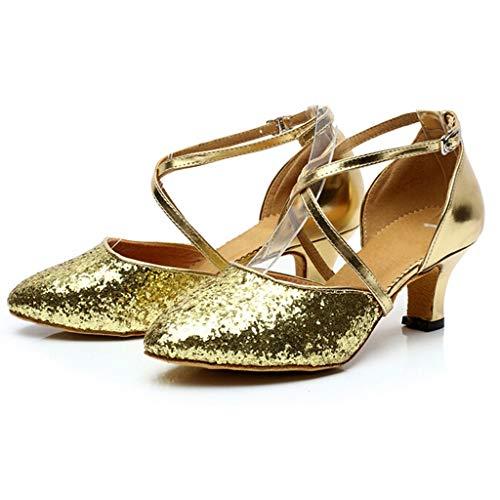 Sala Scivolo 5cm Oro amp;bambina Serie Da Donna Baotou Principessa Latino 5 Tacco Standard Ballo Paillettes Sandali Scarpe Eleganti Anti 7cm ZHHxwv6q