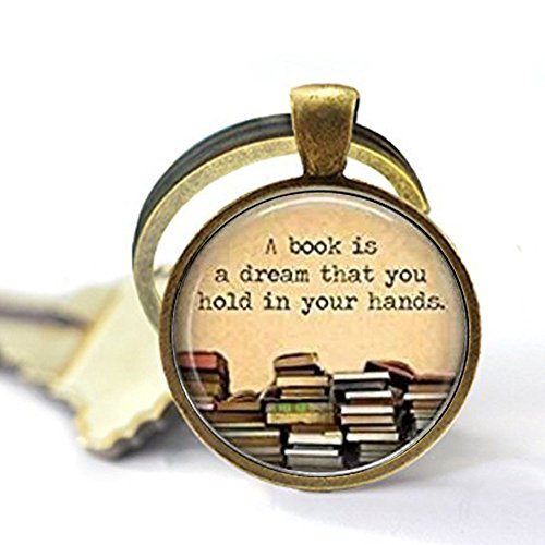 Glass Dome Ring - Round 'A book is a dream you can hold in your hands' quote glass dome Keychain,Unique Key Ring Customized Gift,Everyday Gift Key Chain