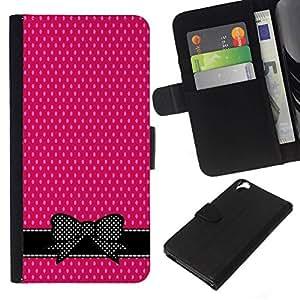All Phone Most Case / Oferta Especial Cáscara Funda de cuero Monedero Cubierta de proteccion Caso / Wallet Case for HTC Desire 820 // White Polka Dot Bow Bowtie Black
