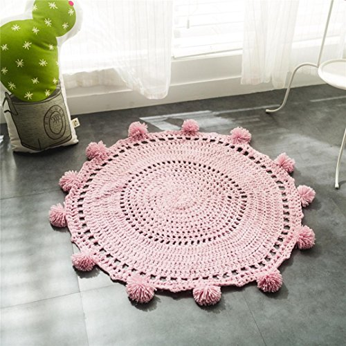 Vibola Hand Knitting wool ball children's mats, floating window mats, INS Nordic style mats, photographic props model room mats (pink)
