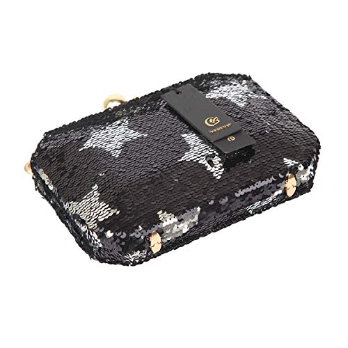Black Bonjanvye Star Evening Handbags Women For Sequin Clutch 10rdPw1q