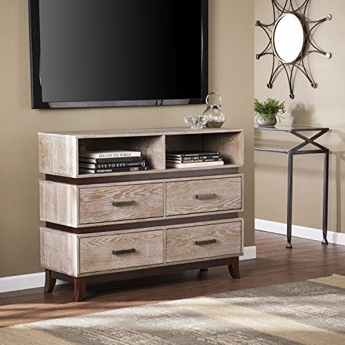 White Grained Media Console Table - Burnt Oak w/Wanut Finish - Fixed Shelves w/Drawers