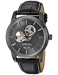 Invicta Men's 'Objet d'Art' Automatic Stainless Steel and Leather Casual Watch, Color:Black (Model: 22619)