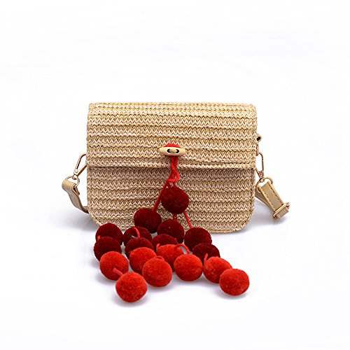 GAOQQ Bag Red Simple Fashion Crossbody Straw Black Shoulder Shoulder Bag Hand woven Hairball Bag r0EOqwr
