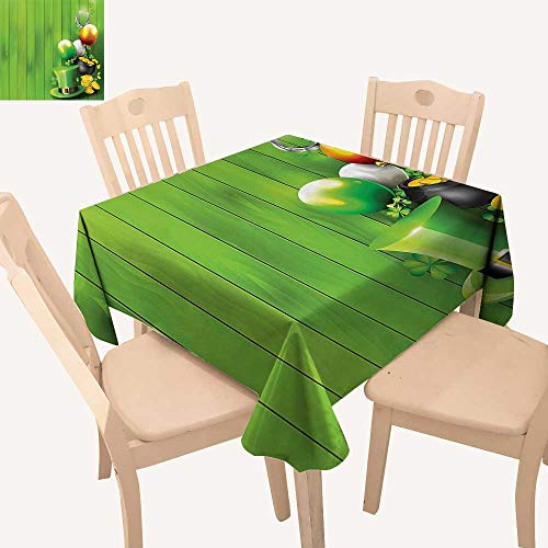 UHOO2018 Spillproof Fabric Tablecloth Wood with Shamrock Lucky Clovers Pot of Gold Coins and Horse Shoe Square/Rectangle Washable Polyester,50x 50inch