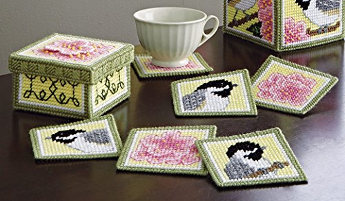 Chickadee and Apple Blossom Plastic Canvas Coasters and Holder Kit - Set of 6