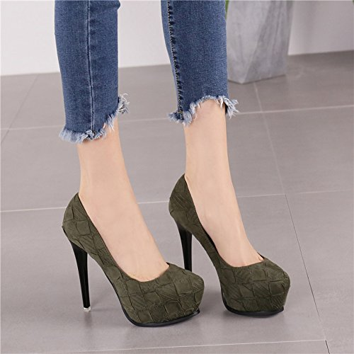 Fashion High Lady Cloth Face MDRW Spring Shallow Elegant Fine Store 11Cm Sexy Waterproof Heels Leisure 34 Platform Mouth Shoes Night Green Heels Army Women Single With Shoes Work 6xnfqnZ