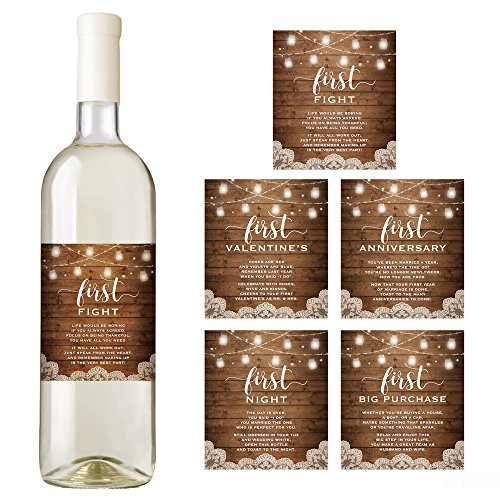 Wine Bottle Shower - Rustic Wine Bottle Labels for a Wedding Gift, Wedding Milestones, Wedding Firsts, Bridal Shower Gift