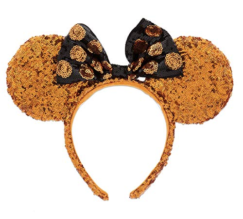 Disney Parks Mickey Minnie Mouse Orange Sequin Ears Black Bow Halloween Headband -