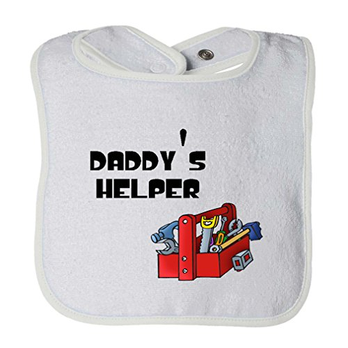 Price comparison product image Picture Tools' Box Black Daddy'S Helper Infant Contrast Trim Terry Bib White