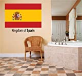 Decal – Vinyl Wall Sticker : Kingdom Of Spain Flag Country Pride Symbol Sign / Banner Emblem - Home Decor Boys Girls Dorm Room Bedroom Living Room Peel & Stick Picture Art Graphic Design Car Window Text Lettering Mural – Size : 10 Inches X 20 Inches -