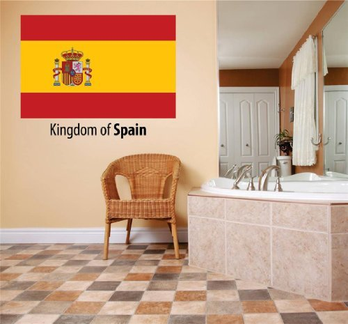 Decal – Vinyl Wall Sticker : Kingdom Of Spain Flag Country Pride Symbol Sign / Banner Emblem - Home Decor Boys Girls Dorm Room Bedroom Living Room Peel & Stick Picture Art Graphic Design Car Window Text Lettering Mural – Size : 10 Inches X 20 Inches - by Design With Vinyl Decals
