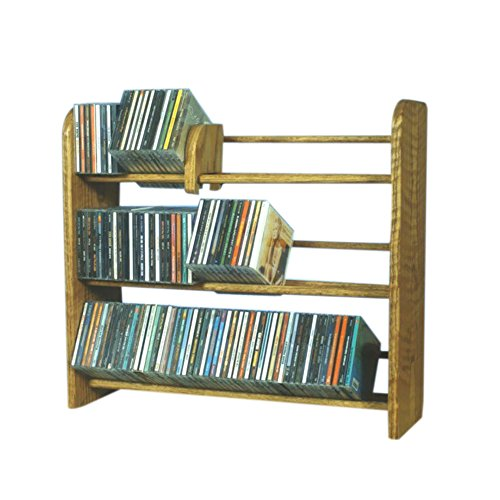 Cdracks Media Furniture Solid Oak 3 Row Dowel CD Rack Capacity 165 CD's Honey ()