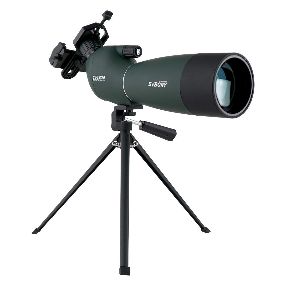 SVBONY SV28 Spotting Scope with Tripod 25-75x70mm Waterproof Angled Bak4 Prism for Target Shooting Bird Watching Hunting by SVBONY
