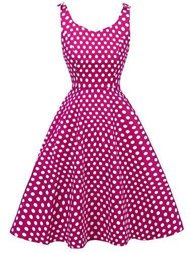- FAIRY COUPLE Women's Vintage 1950s Dress Retro Polka Dot Rockabilly Party Swing Dresses M Rose White Dots