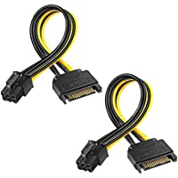 Electop 2 Pack 8 Inch SATA 15 pin to 6 pin PCI Express Card Power Cable