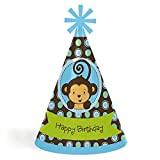 kids party cone hats - Blue Monkey Boy - Cone Happy Birthday Party Hats for Kids and Adults - Set of 8 (Standard Size)