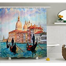 Venice Shower Curtain by Ambesonne, Watercolor Painting of Venice Serene Cityscape Antique Gondolas Scenic, Fabric Bathroom Decor Set with Hooks, 70 Inches, Peach Light Blue Red